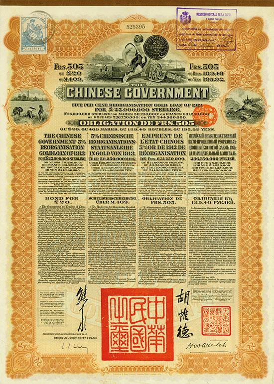 Chinese Government (Kuhlmann 302 - spanische Steuermarke und Stempel)