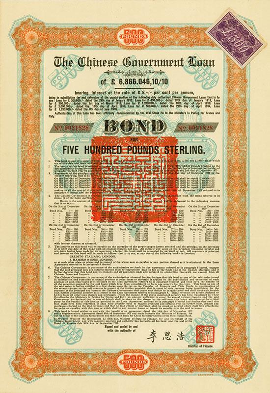 Chinese Government (Skoda Loan II, Kuhlmann 704 I)