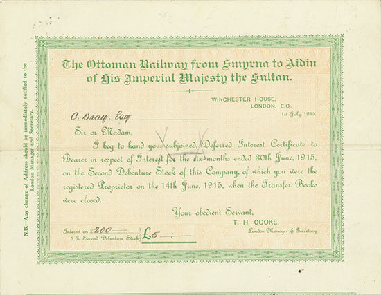 Ottoman Railway from Smyrna to Aidin of His Imperial Majesty the Sultan