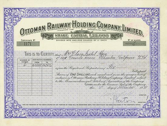 Ottoman Railway Holding Company, Limited