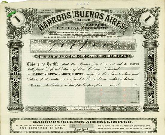 Harrods (Buenos Aires) Limited [2 Stück + 6 Dokumente]