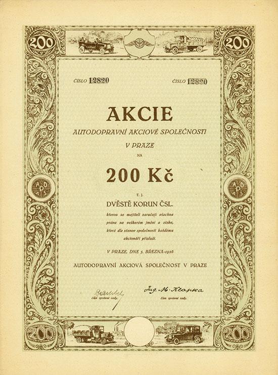 Autodopravní Akciová Společnost v Praze / Kraftverkehrs-AG in Prag