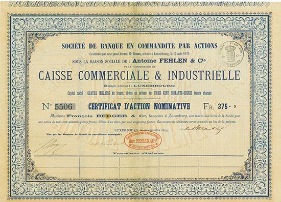 Caisse Commerciale & Industrielle - Société de Banque en Commandite par Actions