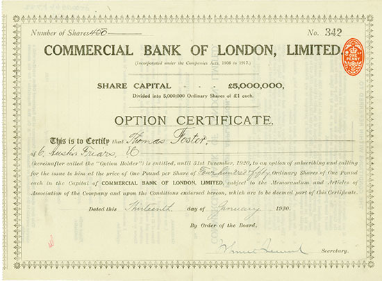 Commercial Bank of London, Limited