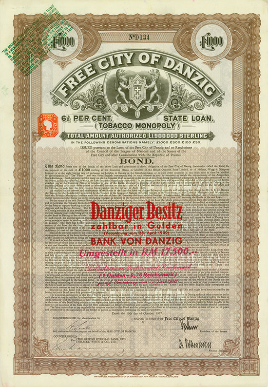 Free City of Danzig (Tobacco Monopoly)
