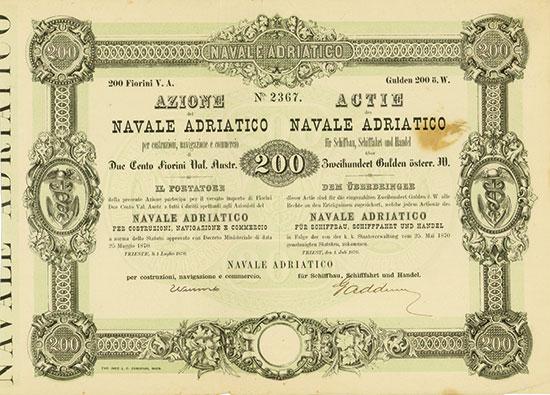 Navale Adriatico für Schiffbau, Schifffahrt und Handel / Navale Adriatico per costruzioni, navigazione e commercio