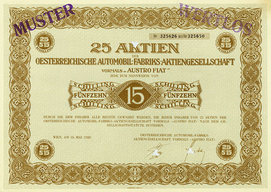 """Oesterreichische Automobil-Fabriks-AG vormals """"AUSTRO FIAT"""""""