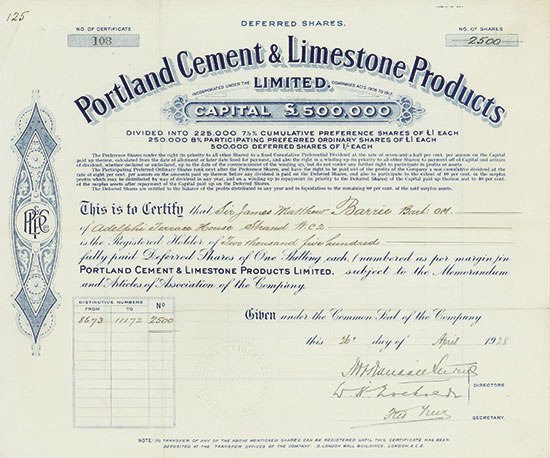 Portland Cement & Limestone Products Limited