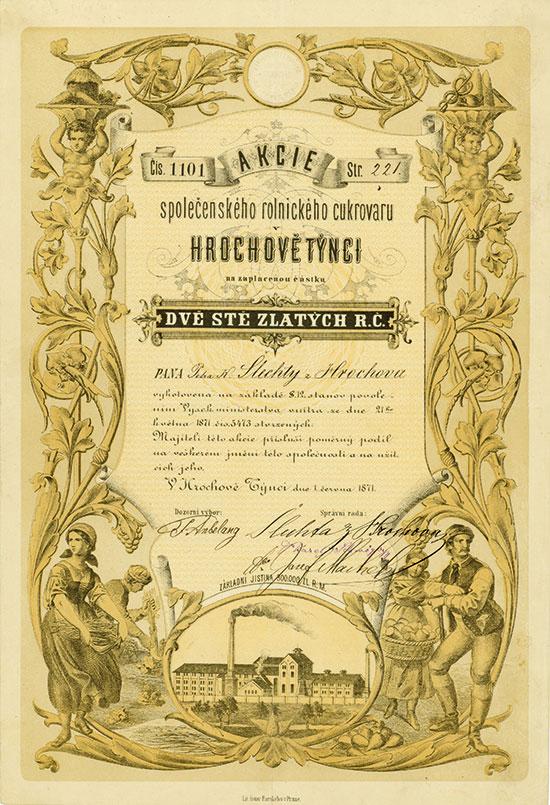 Spolecenského rolnického cikrovaru Hrochove Tynci / Landwirtschaftliche Aktien-Zuckerfabrik Hrochove Tynci