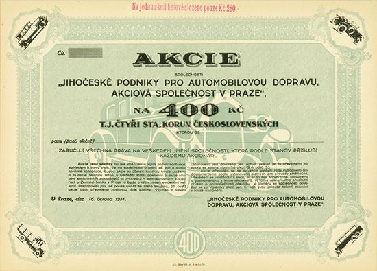 Společnost Jihočeské Podniky pro Automobilovou Dopravu, Akciová Společnost v Praze / JAS - Südböhmische Automobilverkehrs AG