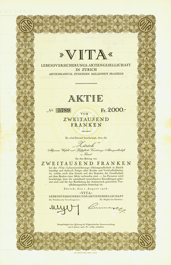 VITA» Lebensversicherungs-AG in Zürich