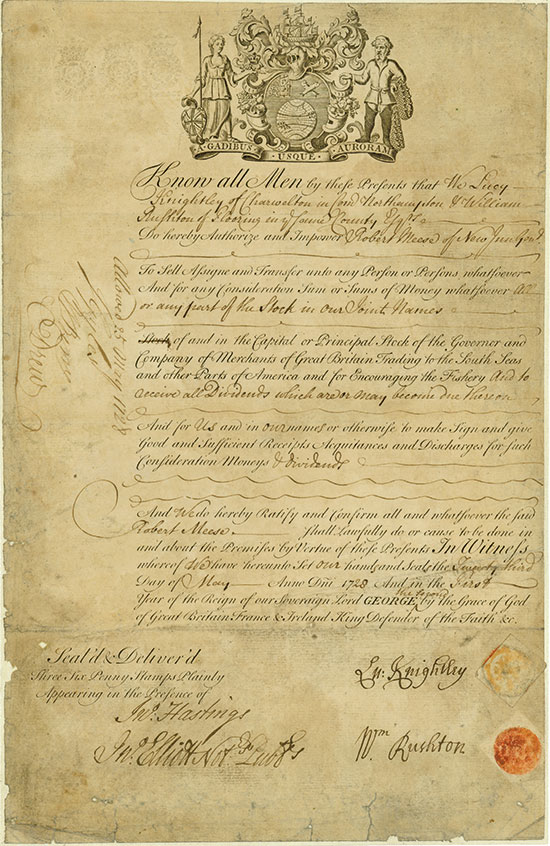 South Sea Company - Governor and Company of Merchants of Great Britian Trading to the South Seas and other Parts of America