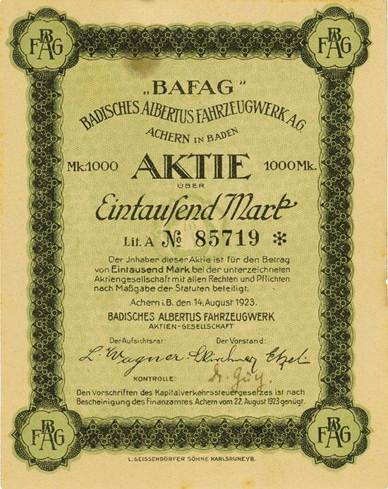 "BAFAG"" Badisches Albertus Fahrzeugwerk AG"