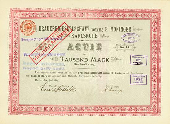 Brauereigesellschaft vormals S. Moninger Karlsruhe