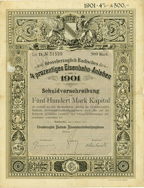Großherzoglich Badische Eisenbahnschuldentilgungskasse - Eisenbahn-Anlehen