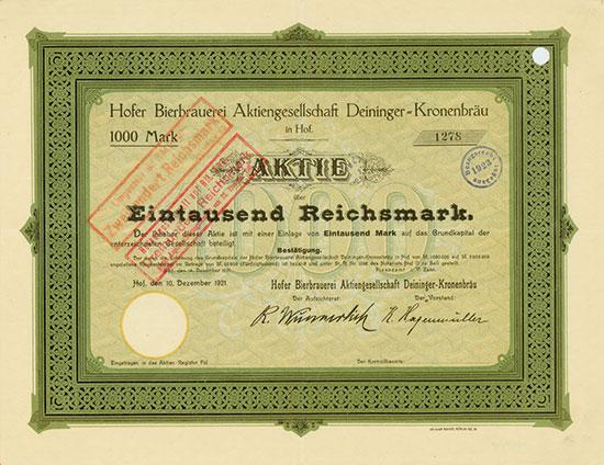 Hofer Bierbrauerei AG Deininger-Kronenbräu