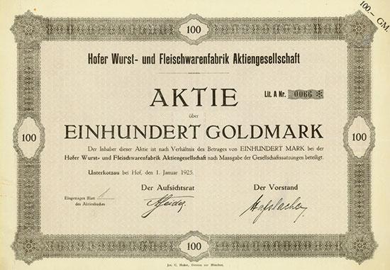 Hofer Wurst- und Fleischwarenfabrik AG