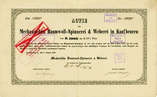 Mechanische Baumwoll-Spinnerei & Weberei Kaufbeuren