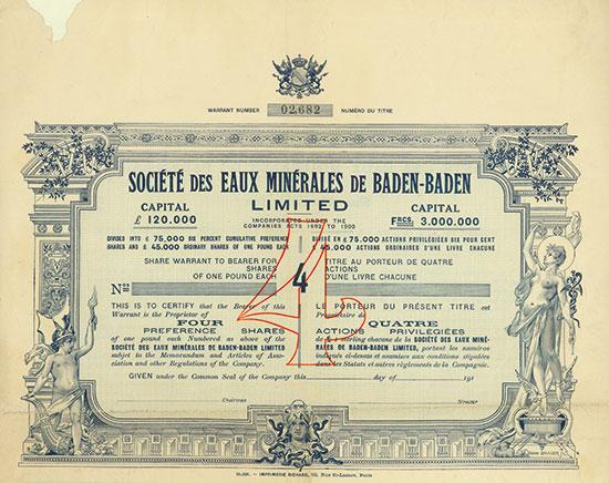 Société des Eaux Minérales de Baden-Baden Limited