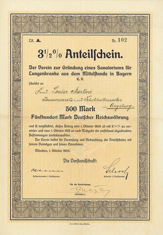 Verein zur Gründung eines Sanatoriums für Lungenkranke aus dem Mittelstande in Bayern e.V.