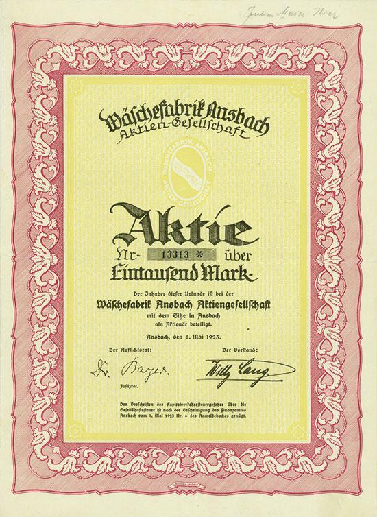Wäschefabrik Ansbach AG