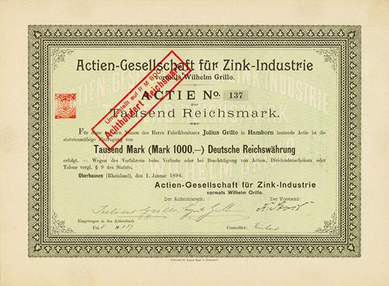 Actien-Gesellschaft für Zink-Industrie vormals Wilhelm Grillo