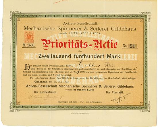 Actien-Gesellschaft Mechanische Spinnerei & Seilerei Gildehaus vormals De Wed. Cool & Zoon