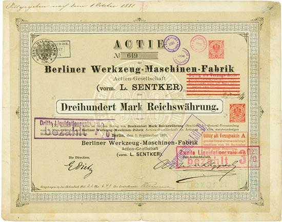 Berliner Werkzeugmaschinen-Fabrik Actien-Gesellschaft (vorm. L. Sentker)