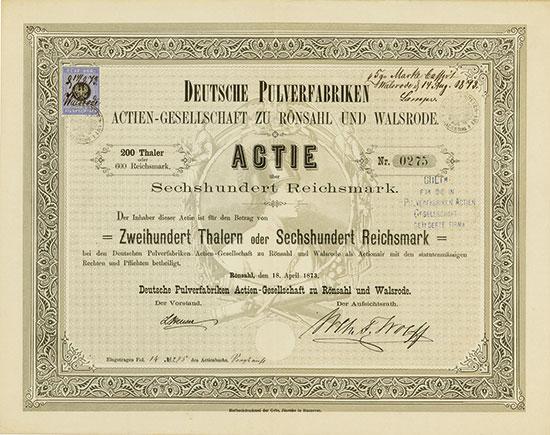 Deutsche Pulverfabriken Actien-Gesellschaft zu Rönsahl und Walsrode
