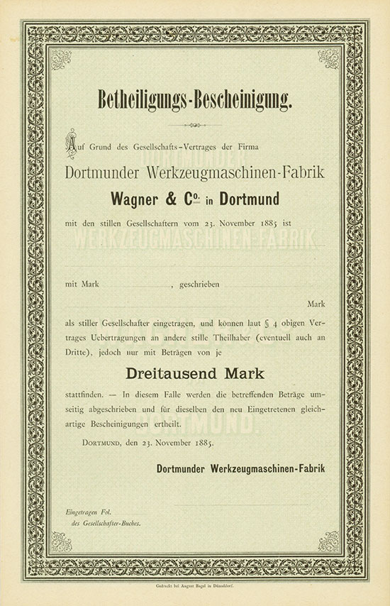 Dortmunder Werkzeugmaschinen-Fabrik Wagner & Co. in Dortmund
