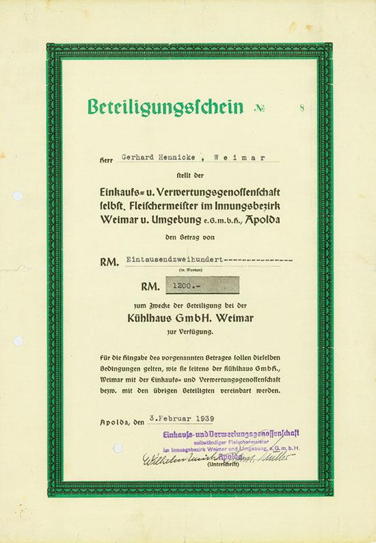 Einkaufs- u. Verwertungsgenossenschaft selbst. Fleischermeister im Innungsbezirk Weimar u. Umgebung eGmbH