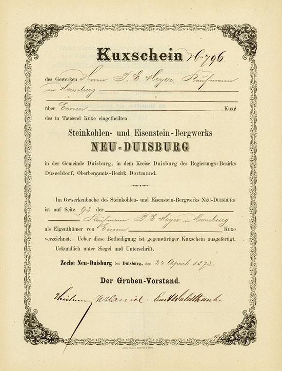 Steinkohlen- und Eisenstein-Bergwerk Neu-Duisburg