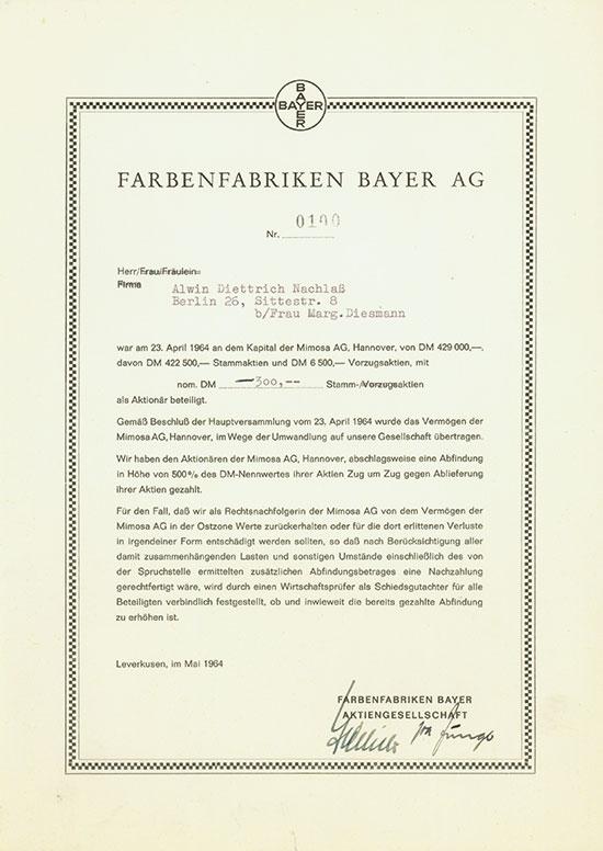 Farbenfabriken Bayer AG / Mimosa AG
