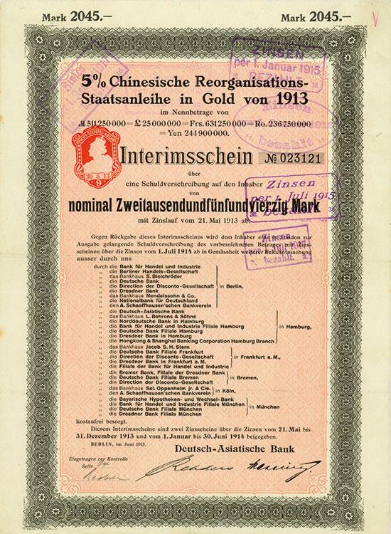 5 % Chinesische Reorganisations-Staatsanleihe in Gold von 1913 (Kuhlmann 304 TE)