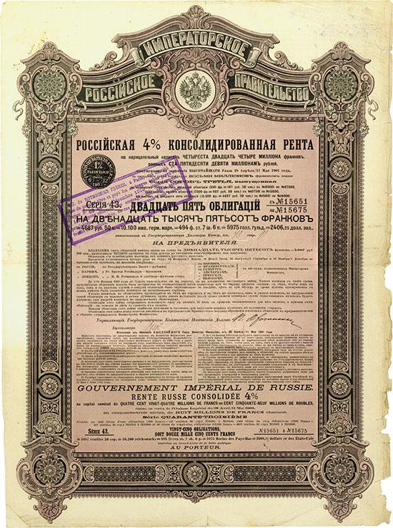 Kaiserlich Russische Regierung - Russische 4 % Consolidirte Rente