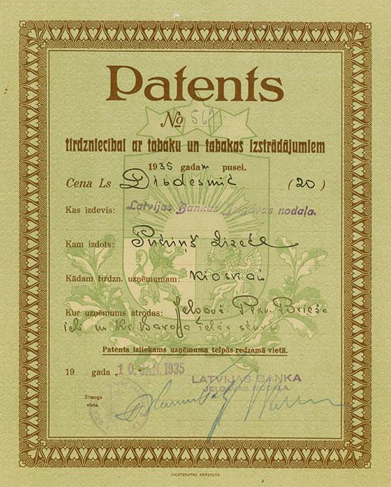 Latvijas Banka - Patents tirdzniecibal ar tabaku un tabaks izstradajumiem