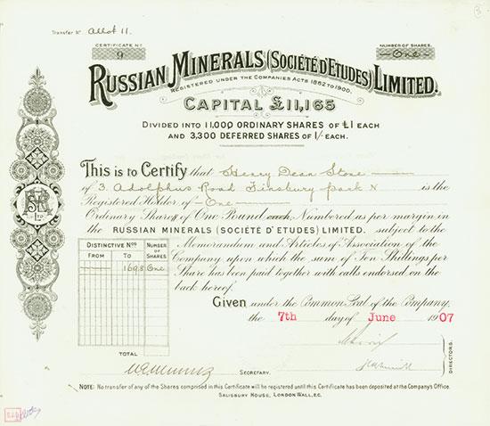 Russian Minerals (Société d'Etudes) Limited