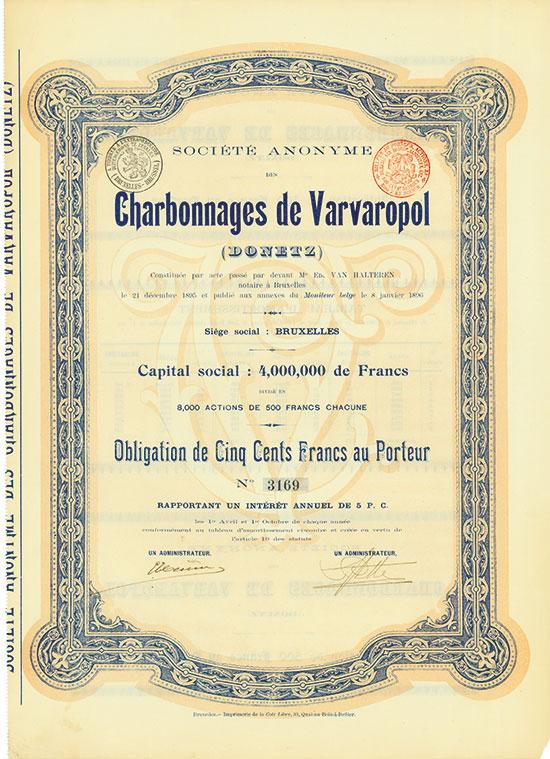 Société Anonyme des Charbonnages de Varvaropol (Donetz)