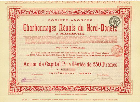 Société Anonyme des Charbonnages Réunis du Nord-Donetz à Marievka [3 Stück]