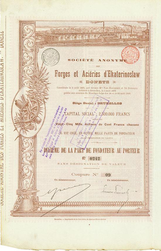 Société Anonyme des Forges et Aciéries d'Ekaterinoslaw [5 Stück]