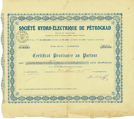 Société Hydro-Èlectrique de Saint-Petersbourg (de Pétrograd) [3 Stück]