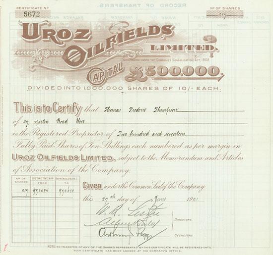 Uroz Oilfields Limited
