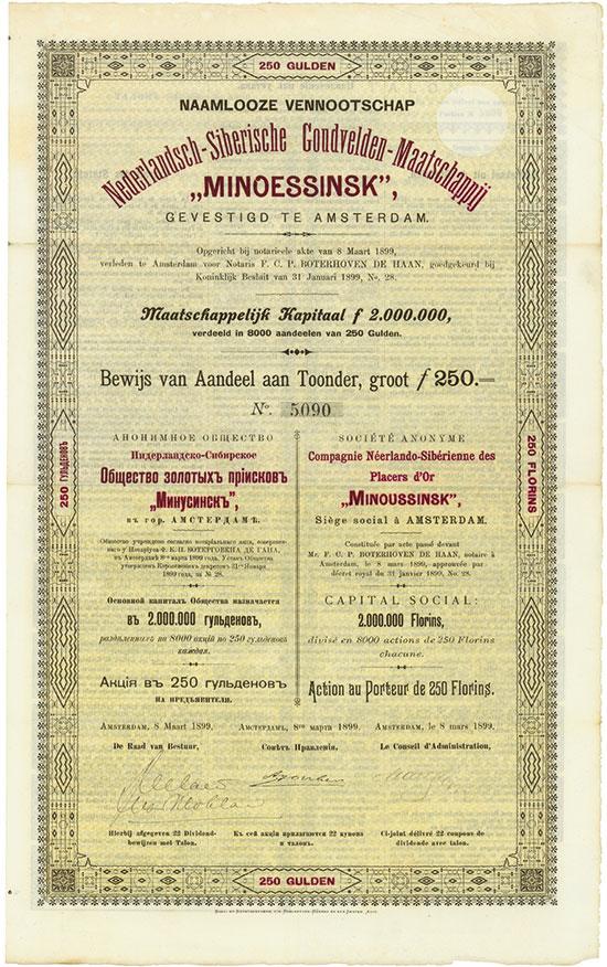"""Nederlandsch-Siberische Goudvelden-Maatschappij """"Minoessinsk"""