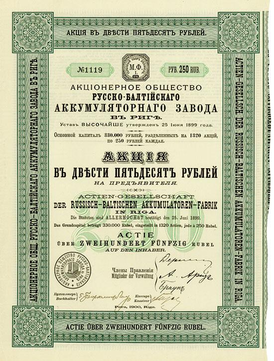Actien-Gesellschaft der Russisch-Baltischen Akkumulatoren-Fabrik in Riga