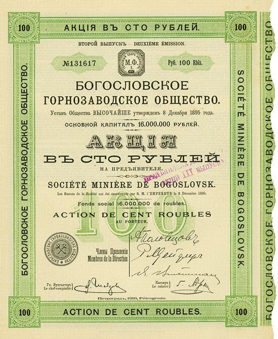 Société Minière de Bogoslovsk [191 Stück]