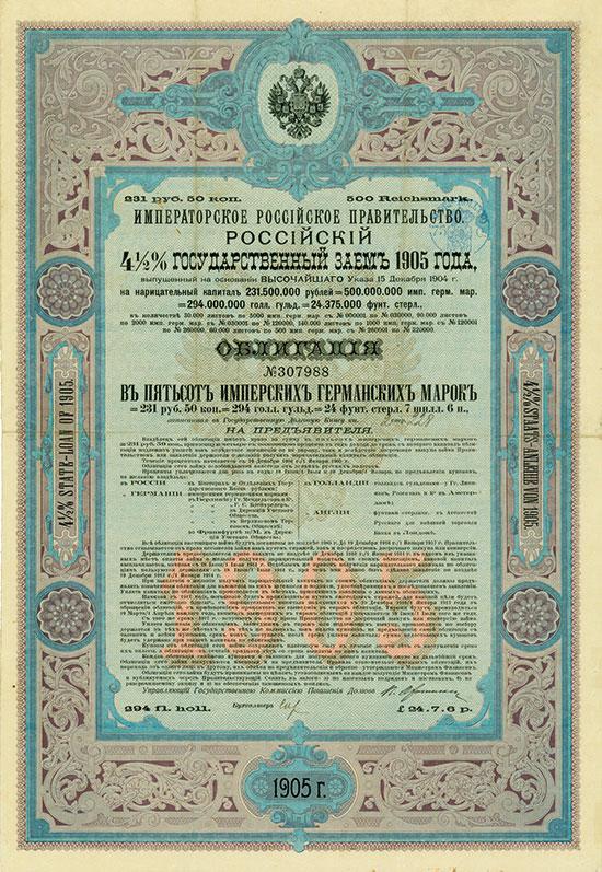 Kaiserlich Russische Regierung - Russische 4,5 % Staats-Anleihe von 1905 [4 Stück]
