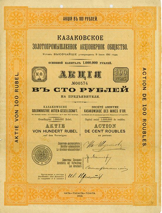 Kasakowsche Goldindustrie AG / Société Anonyme Kasakowskoé des Mines d'Or