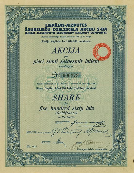 Liepajas-Aizputes Šaursliežu Dzelzscela Akciju S-BA (Libau-Hasenpoth Secondary Railway Company)