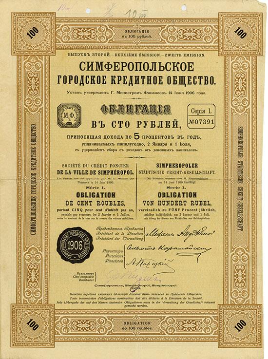 Simpheropoler Städtische Credit-Gesellschaft / Société du Crédit Foncier de la Ville de Simphéropol