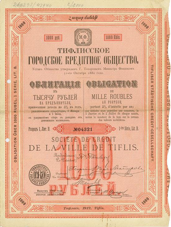 Tifliser Städtische Credit-Gesellschaft / Société de Crédit de la Ville de Tiflis